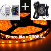 New!!! RGB Led Strip Waterproof 5M SMD 5050 300 LEDs/Roll +24 keys IR Remote+12V 6A Power Adapter Free Shipping