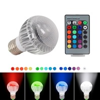 E27 RGB LED Lamp bulb AC 100-240V 3W with Remote Control
