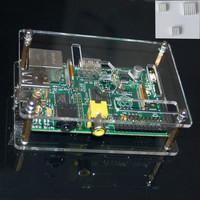 For Raspberry Pi Computer Model B 512M Clear Case Box Protector W/Heatsink Set Free Shipping