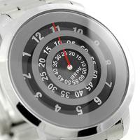 2014  Fashion design Silver Metal Iron Quartz Wrist Watch Black Turntable Dial Digital Boy Mens