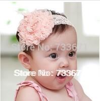 30pcs/lot Lace Flower Newborn Baby Infant Toddler Kid Girl Headband Christening Elastic xth006