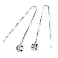 Long Tassel Crystal Drop Earrings 100% Guaranteed Genuine 925 Sterling Silver Women's Charm Jewelry Free Shipping (SE059)