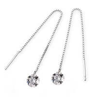 Long Tassel Crystal Drop Earrings 100% Guaranteed Genuine 925 Sterling Silver Women's Charm Jewelry Free Shipping (SE059)