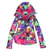 2014 new womens geometric figure ski jacket ladies waterproof snowboarding jacket ladies purple skiing jacket skee parka skiwear