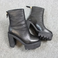 Brand design genuine leather platform motorcycle boots for women, thick high-heeled martin ankle boots and woman winter shoes