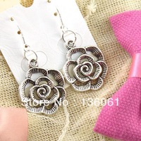 Wholesale Fashion  Drop Earrings  Vintage Antique Silver  Alloy Flower  Charms DIY Jewelry Findings Free Shipping 50Pair Z538