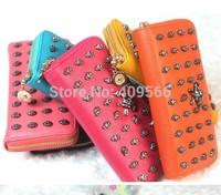Long design wallet card holder fashion women's handbag day clutch skull 2014 new arrivel purse for gril high quality black blue