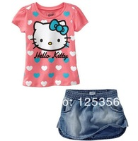 Free shipping, retails Girls T shirt+dresses, girls clothes set, girls sports suit,1set/lot--NB40