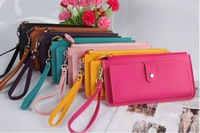 2013 HOT SELLING 11 colors fashion brand wallets women, leather purses women free shipping