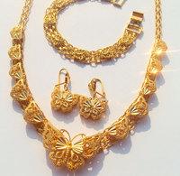 NEW Noble women 24k gold Filled butterfly necklace pendant earring bracelet sets