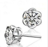 Free Shipping 2014 new Hot 6mm CZ Stud Earrings Zircon Stud Earrings 925 Sterling Silver Stud Earrings Nickel Free