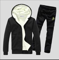 2014 Spring Autumn Zipper Design Men's Hoodies Suit  Fleece Sweater Pants Solid Color Sport Set 5 color S~XXL