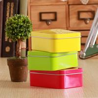 Solid color zakka rectangle storage tin sundries box jewelry box candy box