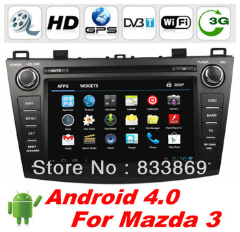 "8 "" 2 Din Android 4.0 Car DVD GPS Player For New Mazda 3 CPU 1Ghz RAM 1G BT Ipod Radio TV 3D UI PIP free WIFI dongle + CAN BUS"
