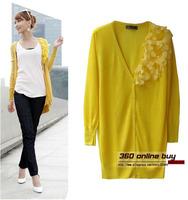 Hot selling! Sweet medium-long women cardigan knitwear ultra thin summer fashion appliques knitwear cardigan sweater 2014