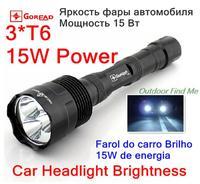 2000 Lumens Lantern  Lanterna LED 3* CREE Xml T6 Penlight Hunting Tactical Flashlight 15W Brightness As Car Headlights Use 18650