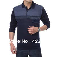 2013 new  Men's Long Sleeve  Shirt business men stripes Polo shirt Fashion shirt free shipping