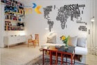 Large World Map in Words Wall Art Sticker Vinyl Graphics Decals Home Room Decor(China (Mainland))