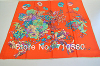 2014 free shipping 100% silk printed twill square scarf  bandana pashmina shawl hijab for women 90*90 hand rolled