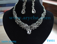 Free shipping Chain  Necklace silver plated jewelry set Wedding Fashion zinc alloy Jewelry design  Earring 2pic T6931