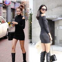 New Fashion 2014 Sexy Package Hip Women Bodycon Dresses/Turtleneck Spring Winter Dresses For Women/Casual Brand Women Dress
