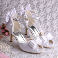 (13 Colors) Unique High Heels Ladies Peep Toe Heels With Bow Party Bridal Shoes Dress Free Shipping