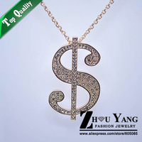 ZYM031 The Dollar Sign Sweater Coat Chain 18K Gold Plated Pendant Necklace Jewelry Austrian Crystal  Wholesale