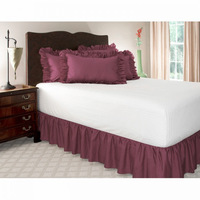 """Free Shipping!! Hot Sale Purple Color Wrap Around  Elastic Ruffles Style Bed Skirt for  With 14"""" Drop For King and Queen Size"""
