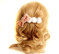 Sample order 2013 Free shipping  Pink bowknot lovely hair clips Personality hair restoring ancient ways F0050