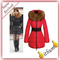 2013 Winter Women Fashion luxury large fur collar slim thickening medium-long down coat wadded jacket outerwear