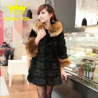faux fur wool cloak outerwear women winter warm shawel black[T8001]