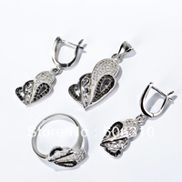 TZ0133 Fashion white&black Zircon Jewelry Set 1pc 925 silver micro pave CZ jewelry set: earrings+pendat+ring
