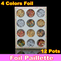 [ Retail ] 12 pots Gold Silver Copper Foil Paillette Chip Colors Nail Art Glitter Foil Decoration Set + Free Shipping