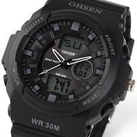 Free ship mens military watch sports watch dual time digital quartz Chronograph jelly silicone swim dive watch