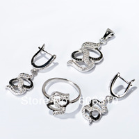 TZ0138 Fashion white&black Zircon Jewelry Set 1pc 925 silver micro pave CZ jewelry set: earrings+pendat+ring