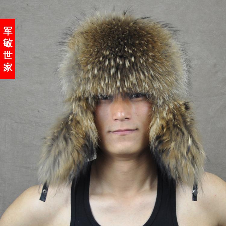 2014 Male raccoon wool sheepskin lei feng cap raccoon fur hat sheepskin hat(China (Mainland))