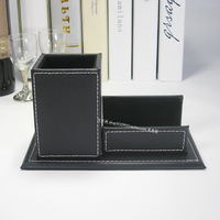 PU leather pen holder with namecard holder pen-container pen box pen case  black A016