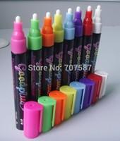 5mm round toe erassable led neon board pen glass plate pen wine glass pen blackboard pen 8pcs Free shipping