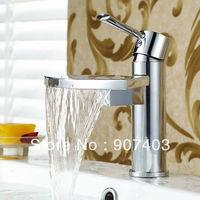 Free ems shipping 5 years guarantee brass single lever deck mounted bathroom axe shaped rain-waterfall basin faucet 23604