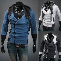 Assassin's Creed III 3 Desmond Double Collar Cosplay Costume Hoodie Coat Jacket