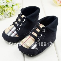 Free Shipping baby shoes boys girls soft sole first walkers plaid