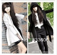 Free shipping 2013 Korean women hooded coat double breasted Trench outwear dress style with the belt