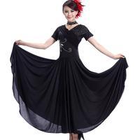 Skirt diamond applique short-sleeve modern dance skirt ballroom dancing one-piece dress skirts expansion bottom