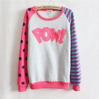 [Magic] Pow!flocking letters fleece inside sweatshirts big dot and stripe sleeve nice design women hoodies 4 color 9064 free