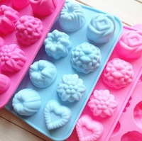 free shipping! 2013 new design12 types flowers 3d silicone molds for retail.Chocolate fondant cupcake Mold, food  & soap molds