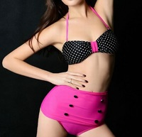Free Shipping Drop ship New HIGH WAISTED Bikini tankini plus size polka dot swimwear 1296C