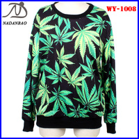 Women Sweatshirts Hemp Leaves Digital Print Long Sleeve Galaxy Space Crew Neck Black Milk Sky Loose Free Shipping