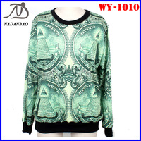 Women Sweatshirts US Dollar Digital Print Long Sleeve Galaxy Space Crew Neck Black Milk Sky Loose