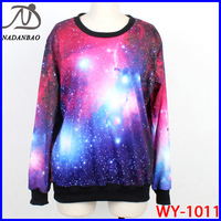 NEW Women Sweatshirts Cosmic Purple Galaxy Space Digital Print Long Sleeve Crew Neck Black Milk Sky Loose Free Shipping