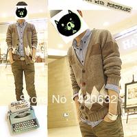 2014 men's clothing long-sleeve loose sweater men cardigan knitted sweater designer outwear men's jacket blouse one piece retail